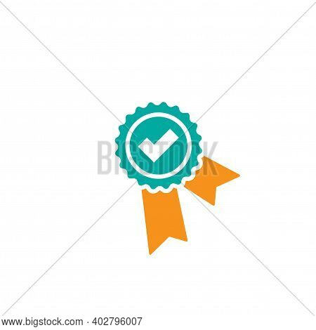 Valid Seal Icon. Blue Circle With Ribbon And Gold Tick. Flat Ok Sticker Icon. Isolated On White. Acc