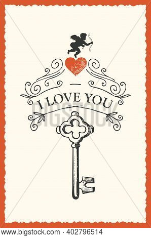 Romantic Valentine Card With Words I Love You In Vintage Style. Vector Greeting Card Or Postcard On