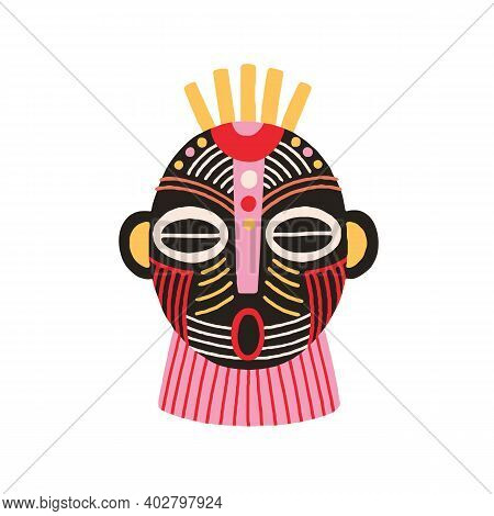 Ethnic African Tribal Mask With Open Mouth And Closed Eyes. Terrifying Ancient Ritual Symbol Or Souv
