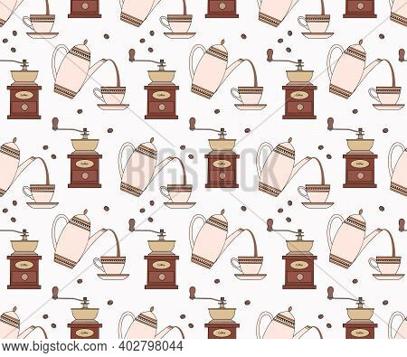 Seamless Repetitive Pattern With Coffee Related Items. Vector