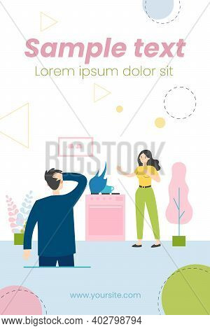 Gas Leaking At Home. People Panicking About Fire On Cooktop Flat Vector Illustration. Fire Safety, F