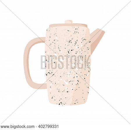 Cute Beige Teakettle Isolated On White Background. Monochrome Ceramic Tea Kettle. Hand Drawn Kitchen