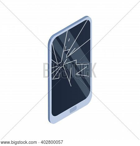 Tablet With Crashed Screen. Damaged Smartphone With Shattered Touchscreen. Crushed Device With Scrat