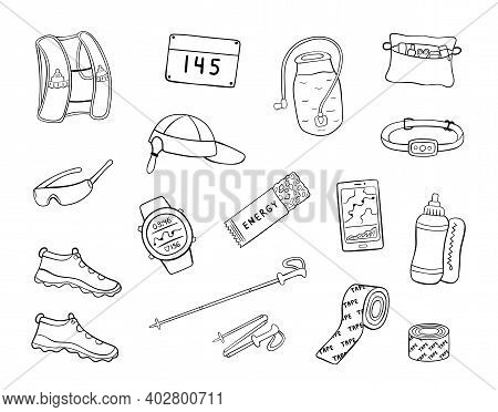 Set Of Hand Drawn Trail Running Equipment And Accessories. Doodle Vector Illustration Of Shoes, Hydr