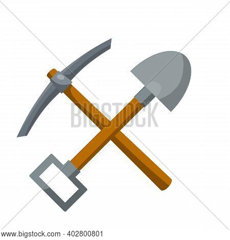 Pick And Shovel. Miner And Digger Tool. Items For Extraction Of Minerals. Cartoon Flat Illustration.
