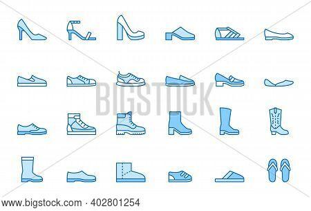 Shoe Line Icon Set. High Heels Sandal, Cowboy Boots, Hiking Footwear, Sneakers, Slipper Minimal Vect