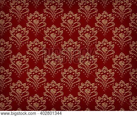 Golden Seamless Background - Abstract Flowers. Eps10 Vector.