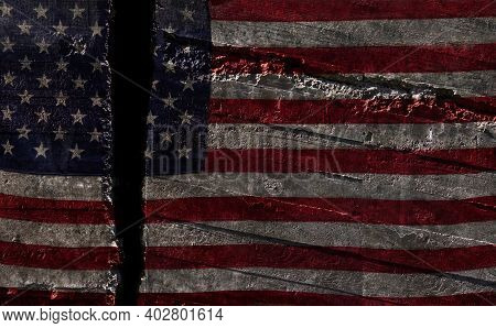 Distressed Us Flag Split In Two -- American Political Division Concept