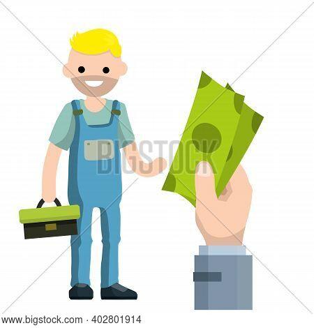 Cartoon Illustration - Technician Man In Uniform. Young Worker. Male Mechanic Tool Box. Repair Speci