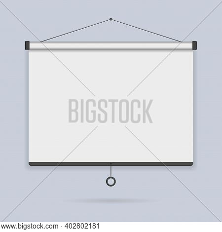 Hanging Empty Projection Screen On The Wall Background Icon. Template Presentation Board, Blank Whit