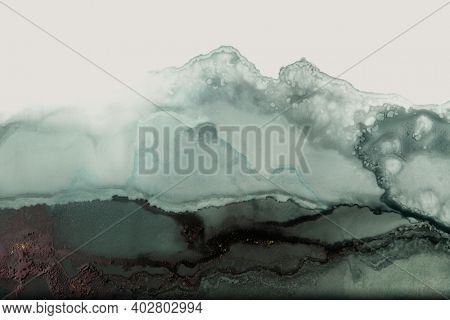 Art Abstract watercolor painting blots landscape horizontal background. Alcohol ink colors. Marble texture.