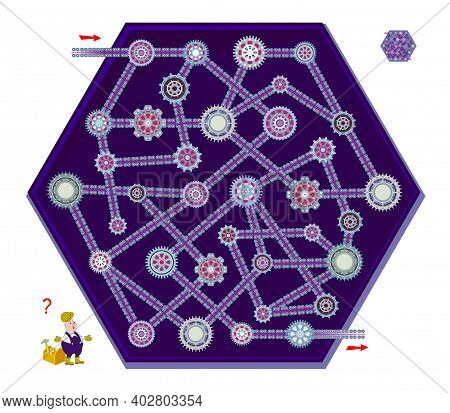 Logic Puzzle Game With Labyrinth For Children And Adults. Find The Way Between The Gears From Start