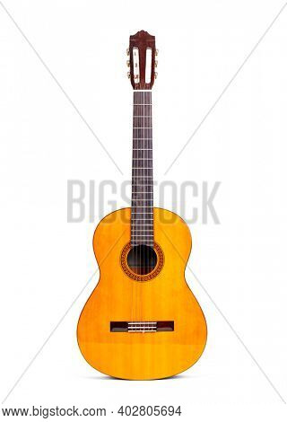 Beautiful wooden guitar isolated on white background