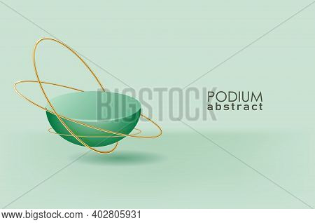Abstract Geometric Hemisphere Stage, Product Ad Presentation On Showroom Platform With Golden.
