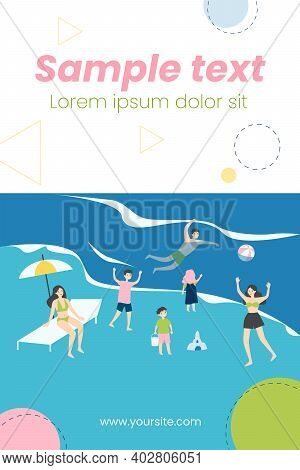 People Relaxing On Beach. Happy Tourists Bathing In Sea Water, Getting Tan Flat Vector Illustration.