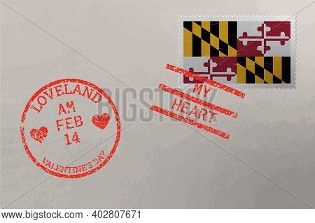 Postage Stamp Envelope With Maryland Us Flag And Valentine S Day Stamps, Vector