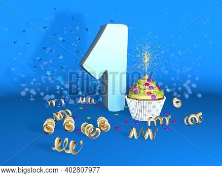 Cupcake With Sparkling Candle For Birthday Or Anniversary 1 With The Big Number In White With Yellow