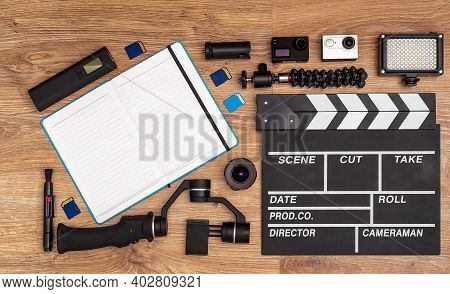 A Set For Videography And Video-blogging Equipment: Action-camera, Clapperboard, Compact Led-light,