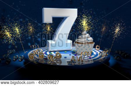 Cupcake With Sparkling Candle For 7th Birthday Or Anniversary With Big Number In White With Yellow S