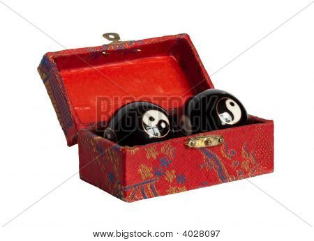 Chinese Casket With Yin Yan Balls Isolated On White
