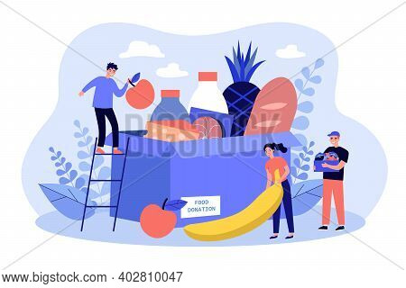 Tiny Volunteers Gathering Grocery Box For Help Isolated Flat Vector Illustration. Canned Food Donati