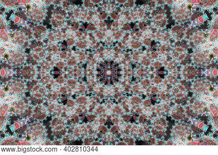 Teal Mandala Artwork. Smooth Spread Of Ink Explosion, Kaleidoscopic Background. Beautiful Multicolor
