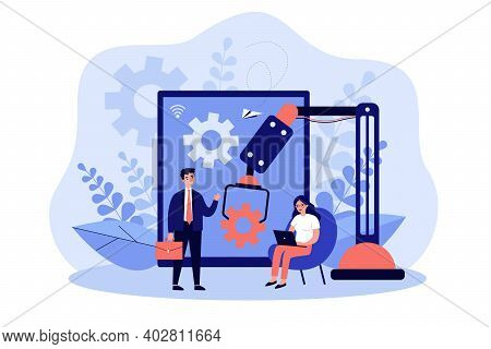 Positive Tiny People Working With Artificial Intelligence Isolated Flat Vector Illustration. Cartoon