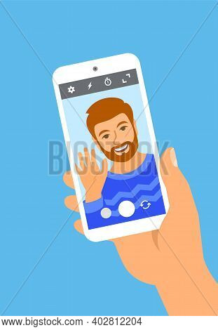 Modern Selfie Concept. Flat Vector Illustration. Young Man Posing For Selfie And Holding Smart Phone