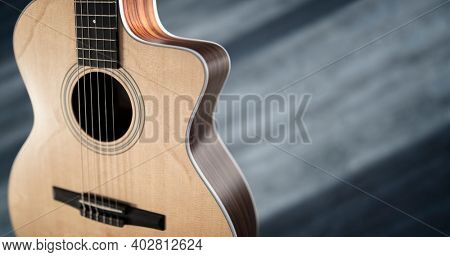 Guitar and blank stage background with copy space for gig poster