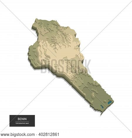 Benin Map - 3d Digital High-altitude Topographic Map. 3d Vector Illustration. Colored Relief, Rugged