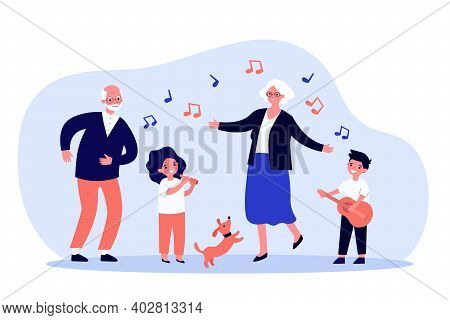 Kids, Grandparents And Pets Having Fun. Dog, Playing Musical Instrument, Dancing. Flat Vector Illust