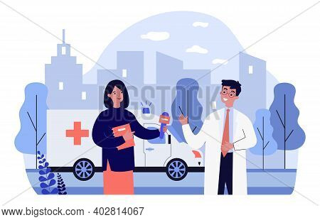 Journalist Interviewing Doctor. Reporter With Microphone, Ambulance, Reportage. Flat Vector Illustra