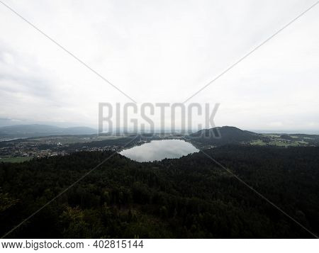 Panorama Of Klopeiner See Lake From Observation Deck Platform Viewpoint Kitzelberg Sankt Kanzian Car