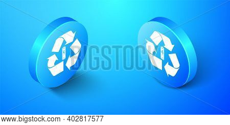 Isometric Battery With Recycle Symbol Icon Isolated On Blue Background. Battery With Recycling Symbo