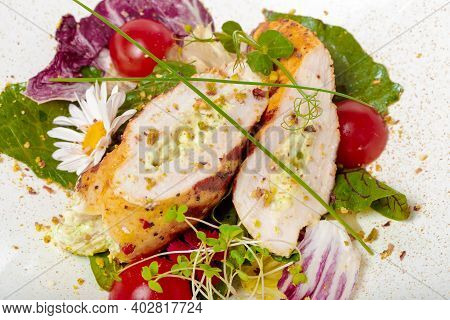 Chicken Salad. Chicken Caesar Salad. Caesar Salad With Grilled Chicken On Plate