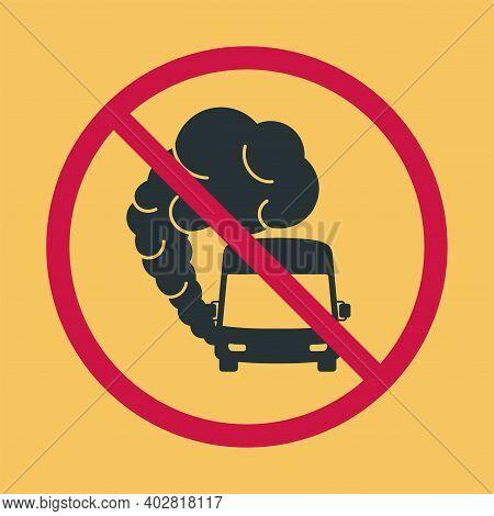 Sign Prohibiting Hazardous Exhaust Fumes. Bus Icon With Exhaust Gases. Exhaust Gases From Buses. Env