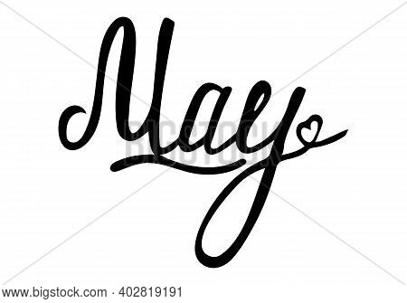 Handwritten Name Of The Month May. Vector Spring Season Calligraphy Design. Is Beautiful Handwritten