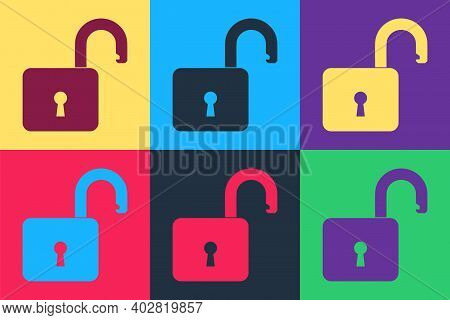 Pop Art Open Padlock Icon Isolated On Color Background. Opened Lock Sign. Cyber Security Concept. Di