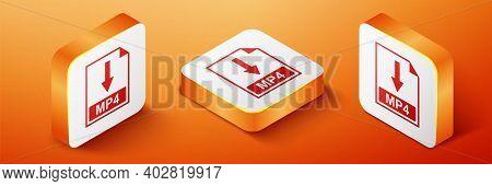 Isometric Mp4 File Document Icon. Download Mp4 Button Icon Isolated On Orange Background. Orange Squ