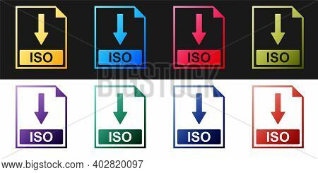 Set Iso File Document Icon. Download Iso Button Icon Isolated On Black And White Background. Vector