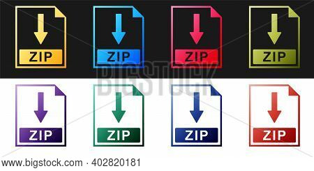 Set Zip File Document Icon. Download Zip Button Icon Isolated On Black And White Background. Vector