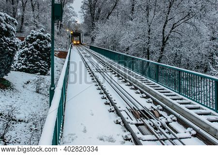 The Two-carriage Petrin Funicular Railway Runing From Lesser Town To Petrin Lookout Tower,prague,cze