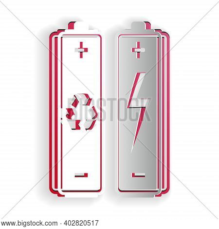 Paper Cut Battery With Recycle Symbol - Renewable Energy Concept Icon Isolated On White Background.