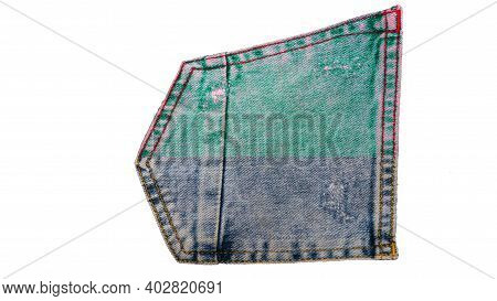 Denim Creative Label Isolated On White Background, Denim Pocket In Two Colors. Denim Icon