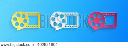 Paper Cut Film Reel And Play Video Movie Film Icon Isolated On Blue Background. Paper Art Style. Vec