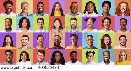 Collection Of Human Faces. Collage Of Diverse Females And Males Portraits With Smiling Multicultural