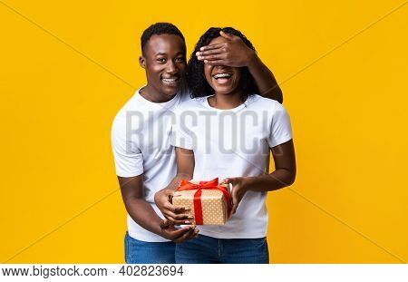 Cheerful African American Young Man Making Valentine Surptise For His Happy Wife, Covering Her Eyes