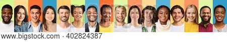 Line Of Diverse People Portraits With Smiling Successful Millennial Males And Females Posing Over Co