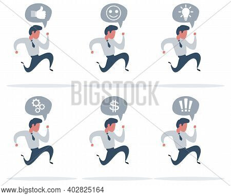 Business Man Running Fast With Waving Necktie. Late Business Person Rushing In A Hurry To Get On Tim