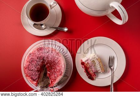 Diet Low-calorie Raspberry Sponge Cake With Jelly, Whipped Cream And Fresh Berries, Tableware, Cup O